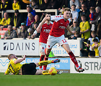 Fleetwood Town's Harry Souttar vies for possession with Burton Albion's Liam Boyce<br /> <br /> Photographer Chris Vaughan/CameraSport<br /> <br /> The EFL Sky Bet League One - Saturday 23rd February 2019 - Burton Albion v Fleetwood Town - Pirelli Stadium - Burton upon Trent<br /> <br /> World Copyright © 2019 CameraSport. All rights reserved. 43 Linden Ave. Countesthorpe. Leicester. England. LE8 5PG - Tel: +44 (0) 116 277 4147 - admin@camerasport.com - www.camerasport.com