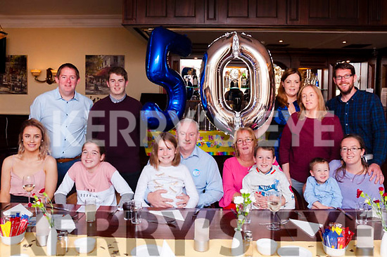 Paul Nelligan of Shanakill, Monavalley, Tralee celebrated his 50th birthday with his wife Margaret and other members of his family at The Imperial Hotel on Saturday evening. (Back l-r) Kevin and Graham Nelligan, Kate Kearney, Karen Nelligan and Alan O'Sullivan. (Front l-r) Paula Nelligan, Lucy and Caoimhe O'Sullivan, The Birthday Boy Paul Nelligan, his wife Margaret, Ben, Scott and Natasha O'Sullivan.