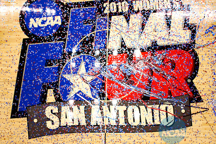 06 APR 2010:  Confetti covers the floor during the Division I Women's Basketball Championship held at the Alamodome in San Antonio, TX.  Connecticut defeated Stanford 53-47 for the national title.  Connecticut defeated Stanford 53-47 for the national title.  Jamie Schwaberow/NCAA Photos