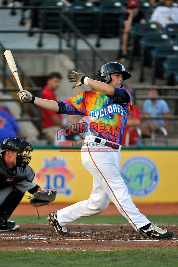 Brooklyn Cyclones catcher Taylor Freeman (43) during game against the Aberdeen Ironbirds at MCU Park in Brooklyn, NY June 21, 2010. Cyclones won 5-2.  Photo By Tomasso DeRosa/Four Seam Images