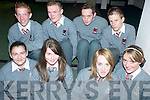 RESULTS: Students of the Intermediate School, Killorglin awaiting their Junior Cert results on Wednesday morning, front l-r: Sarah Breen, Celina McSweeney, Sinead Kelly, Anita Sayers. Back, l-r: Patrick Kilkenny, Brian O'Sullivan, Tadhg O'Shea and Sam Breen.   Copyright Kerry's Eye 2008