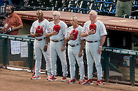 Philadelphia Phillies coaches Juan Samuel, Greg Gross, Sam Perlazzo and Charlie Manuel before the Major League Baseball game against the Houston Astros at Minute Maid Park in Houston, Texas on September 13, 2011. Houston defeated Philadelphia 5-2.  (Andrew Woolley/Four Seam Images)