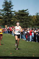 The Big Ten Men's Cross Country Championships, 10,28,2007. University Of Wisconsin. Matt Withrow (University of Wisconsin Junior) sprinting the last few hundred feed and winning the Men's 2007 Big Ten Cross Country Championships held at the Ohio State University on October 28th, 2007.