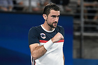 8th January 2020; Sydney Olympic Park Tennis Centre, Sydney, New South Wales, Australia; ATP Cup Australia, Sydney, Day 6; Croatia versus Argentina; Marin Cilic of Croatia versus Guido Pella of Argentina; Marin Cilic of Croatia reacts after winning a point in his match against Guido Pella of Argentina - Editorial Use