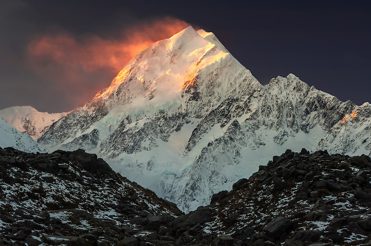 Sunset at the peak of Aoraki / Mount Cook, Canterbury, New Zealand - stock photo, canvas, fine art print