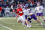 UAlbany Men's Lacrosse defeats Stony Brook on March 31 at Casey Stadium.  Albany's Stone Sims (#25) defending.