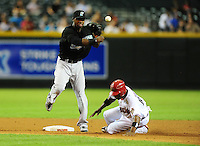 Jul. 8, 2010; Phoenix, AZ, USA; Florida Marlins shortstop Hanley Ramirez throws to first base to complete the double play after forcing out Arizona Diamondbacks base runner Justin Upton in the third inning at Chase Field. Mandatory Credit: Mark J. Rebilas-