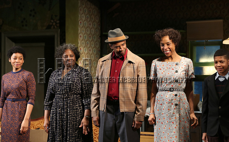 "Anika Noni Rose, LaTanya Richardson, Denzel Washington, Sophie Okonedo and Bryce Clyde Jenkins during the Broadway Opening Night Curtain Call for  ""A Raisin In The Sun""  at the Barrymore Theatre on April 3, 2014 in New York City."