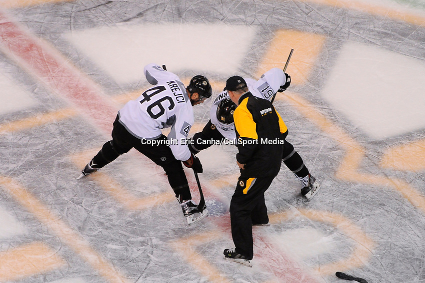 September 22, 2015 - Boston, Massachusetts, U.S. - Boston Bruins center David Krejci (46) and forward Austin Czarnik (61) work on a face-off drill during the Boston Bruins training camp held at TD Garden, in Boston, Massachusetts. Eric Canha/CSM