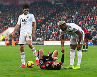 Adam Smith of AFC Bournemouth is helped up by Adama Traore of Wolverhampton Wanderers as Raul Jimenez of Wolverhampton Wanderers looks on during AFC Bournemouth vs Wolverhampton Wanderers, Premier League Football at the Vitality Stadium on 23rd February 2019