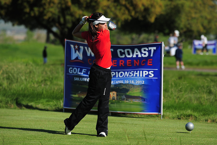 April 17, 2012; Hollister, CA, USA; Seattle Redhawks golfer Nicole Gaddie during the WCC Golf Championships at San Juan Oaks Golf Club.