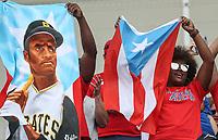 Aficionados de Puerto Rico apoyando a su equipo, durante el partido entre Italia vs Puerto Rico, World Baseball Classic en estadio Charros de Jalisco en Guadalajara, Mexico. Marzo 12, 2017. (AP Photo/Luis Gutierrez)