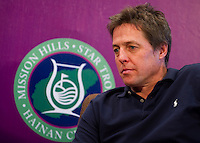 HAIKOU, CHINA - OCTOBER 28:  Hollywood actor Hugh Grant of Great Britain attends a press conference during the Mission Hills Star Trophy on October 28, 2010 in Haikou, China. The Mission Hills Star Trophy is Asia's leading leisure liflestyle event and features Hollywood celebrities and international golf stars.  Photo by Victor Fraile / studioEAST