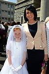 Holly Boyle pictured with her Mum Joanna after making her First Communion at the Lourdes Church on Saturday. www.newsfile.ie
