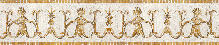 "8 5/16"" Pineapple People border, a hand-chopped mosaic shown in tumbled Travertine Noce, Dijon Gold, Persian Gold, Crema Valencia, and Thassos by New Ravenna."