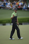 AUGUSTA, GA - APRIL 11: Dustin Johnson putts on the green during the First Round of the 2013 Masters Golf Tournament at Augusta National Golf Club on April 10in Augusta, Georgia. (Photo by Donald Miralle) *** Local Caption ***