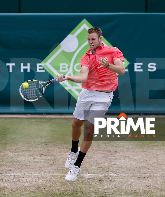 Jack Sock (USA) celebrates his win in front of the crowd during Jack SOCK (USA) v Fernando VERDASCO(ESP)  The Boodles Tennis 2015 tournament at Stoke Park, Stoke Poges, England on 27 June 2015. Photo by Andy Rowland.