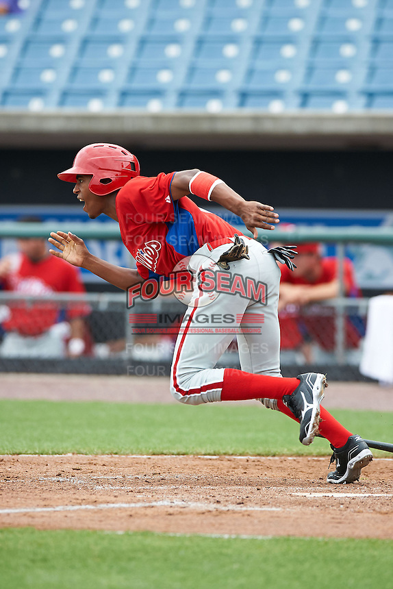 Joshua Palacios #4 of Telecommunications Arts & Technology High School in Brooklyn, New York playing for the Philadelphia Phillies scout team during the East Coast Pro Showcase at Alliance Bank Stadium on August 1, 2012 in Syracuse, New York.  (Mike Janes/Four Seam Images)
