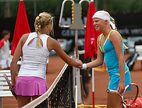 August 6, 2014, Netherlands, Rotterdam, TV Victoria, Tennis, National Junior Championships, NJK,  Nina Kruijer (NED) shakes hands with Eva Vedder (R)<br /> Photo: Tennisimages/Henk Koster