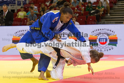 Rafaela Silva (L) of Brazil and Theresa Stoll (R) of Germany fight during the Women -57 kg category at the Judo Grand Prix Budapest 2018 international judo tournament held in Budapest, Hungary on Aug. 10, 2018. ATTILA VOLGYI