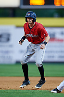 Erie SeaWolves left fielder Danny Woodrow (22) leads off first base during a game against the Binghamton Rumble Ponies on May 14, 2018 at NYSEG Stadium in Binghamton, New York.  Binghamton defeated Erie 6-5.  (Mike Janes/Four Seam Images)