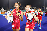 (L to R) <br />   Motomi Kawamura, <br />  Hazuki Nagai (JPN), <br /> AUGUST 31, 2018 - Hockey : <br /> Women's Final match <br /> between Japan 2-1 India  <br /> at Gelora Bung Karno Hockey Field <br /> during the 2018 Jakarta Palembang Asian Games <br /> in Jakarta, Indonesia. <br /> (Photo by Naoki Morita/AFLO SPORT)