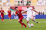 Morteza Pouraliganji of Iran (R) competes for the ball with Nguyen Cong Phuong of Vietnam (L) during the AFC Asian Cup UAE 2019 Group D match between Vietnam (VIE) and I.R. Iran (IRN) at Al Nahyan Stadium on 12 January 2019 in Abu Dhabi, United Arab Emirates. Photo by Marcio Rodrigo Machado / Power Sport Images