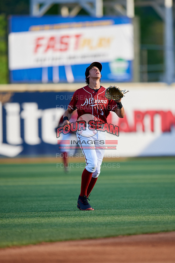 Altoona Curve shortstop Cole Tucker (3) settles under a pop up during a game against the Richmond Flying Squirrels on May 15, 2018 at Peoples Natural Gas Field in Altoona, Pennsylvania.  Altoona defeated Richmond 5-1.  (Mike Janes/Four Seam Images)