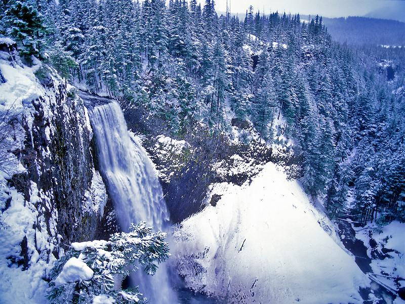Salt Creek Falls with snow. Oregon.