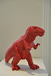 Roslyn, New York, USA. January 2, 2015. Dinosaur (2006) in red polyresin, by artist Sui Jianguo (b. 1956) is displayed at the Nassau County Museum of Art China Now and Then Exhibit.