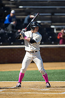 Stuart Fairchild (4) of the Wake Forest Demon Deacons at bat against the Virginia Tech Hokies at Wake Forest Baseball Park on March 7, 2015 in Winston-Salem, North Carolina.  The Hokies defeated the Demon Deacons 12-7 in game one of a double-header.   (Brian Westerholt/Four Seam Images)
