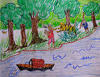 "A drawing by Soumitra Mondal. age - 11 studing in the 6th standard in Rangabelia High school. This drawing stood 1st in a drawing competition where the theme was ""relation of forest and human"". Sunderban, West Bangal, India. May 2011. Arindam Mukherjee"
