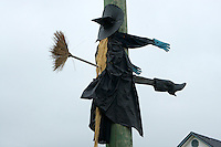 Humorous Halloween sculpture of an unlucky flying witch hitting a telephone pole, Ladner, British Columbia, Canada