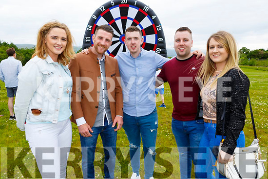 Mairead McCarthy, Sean Conway, John Broderick, Andrew Foran and Cora Broderick at the Dairymaster 50th Anniversary BBQ in the Ballygarry Hotel on Sunday..