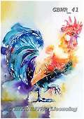 Simon, REALISTIC ANIMALS, REALISTISCHE TIERE, ANIMALES REALISTICOS, paintings+++++LizC_CockerelInTheSpring,GBWR41,#a#, EVERYDAY