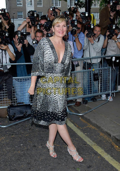 KIM CATTRALL.Arrivals at the 4th Annual Glamour Women Of The Year Awards, Berkely Square Gardens, London, England. .June 5th 2007.full length black silver dress shoes plunging neckline .CAP/FIN.©Steve Finn/Capital Pictures