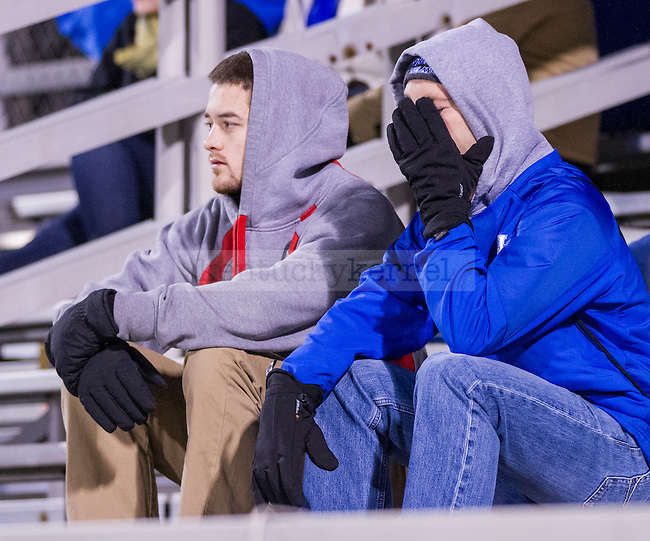 UK Wildcat fans react to the only goal of the evening. A goal scored by Xavier's Luke Spencer.