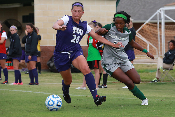 Denton, TX - SEPTEMBER 16: Amber Haggerty #12 of the North Texas Mean Green soccer in action against the Texas Christian University Horned Frogs at the Mean Green Village Soccer Field University in Denton on September 16, 2012 in Denton, Texas. (Photo by Rick Yeatts)