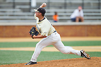 Wake Forest Demon Deacons relief pitcher Nate Jones (42) delivers a pitch to the plate against the Virginia Cavaliers at Wake Forest Baseball Park on May 17, 2014 in Winston-Salem, North Carolina.  The Demon Deacons defeated the Cavaliers 4-3.  (Brian Westerholt/Four Seam Images)