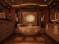 The master bathroom is the epitome of luxury with a massive circular bath