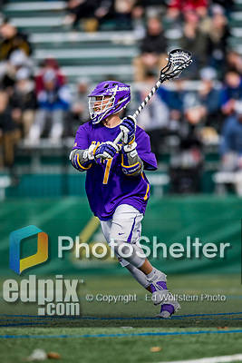6 April 2019:  University at Albany Great Dane Attacker Mitch Laffin, a Junior from Onondaga Nation, in action against the University of Vermont Catamounts at Virtue Field in Burlington, Vermont. The Cats rallied to defeat the Danes 10-9 in America East divisional play. Mandatory Credit: Ed Wolfstein Photo *** RAW (NEF) Image File Available ***