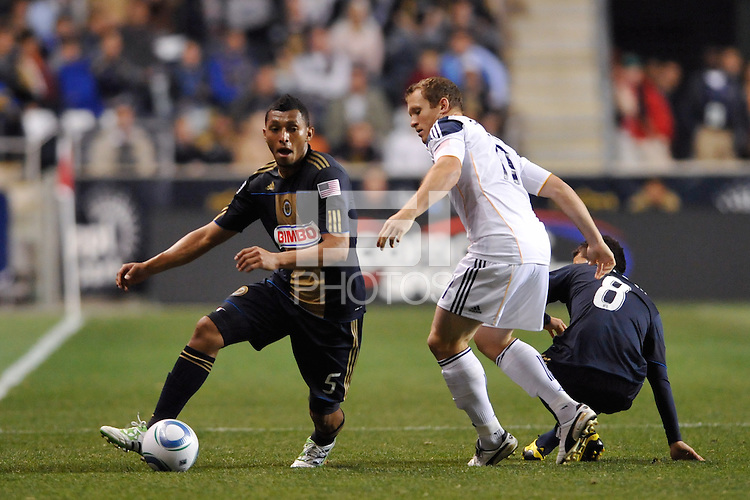The Philadelphia Union  and the Los Angeles Galaxy played to a 1-1 tie during a Major League Soccer (MLS) match at PPL Park in Chester, PA, on May 11, 2011.