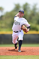 GCL Rays pitcher Nick Sawyer (28) delivers a pitch during a game against the GCL Red Sox on June 24, 2014 at Charlotte Sports Park in Port Charlotte, Florida.  GCL Red Sox defeated the GCL Rays 5-3.  (Mike Janes/Four Seam Images)