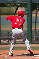 Los Angeles Angels third baseman Kaleb Cowart (13) at bat during an Extended Spring Training game against the Chicago Cubs at Sloan Park on April 14, 2018 in Mesa, Arizona. (Zachary Lucy/Four Seam Images)