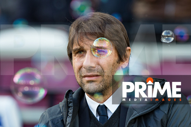 Chelsea manager Antonio Conte ahead of the Premier League match between West Ham United and Chelsea at the Olympic Park, London, England on 9 December 2017. Photo by Andy Rowland.