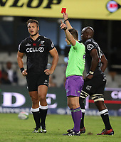 Photo: Steve Haag / stevehaagsports.comDURBAN, SOUTH AFRICA - APRIL 22: Referee: Marius van der Westhuizen of South Africa showing a red card to Andre Esterhuizen of the Cell C Sharks during the Super Rugby match between Cell C Sharks and Rebels at Growthpoint Kings Park on April 22, 2017 in Durban, South Africa. Photo: Steve Haag / stevehaagsports.com