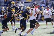 College Park, MD - April 1, 2017: Maryland Terrapins Colin Heacock (2) attempts a shot during game between Michigan and Maryland at  Capital One Field at Maryland Stadium in College Park, MD.  (Photo by Elliott Brown/Media Images International)