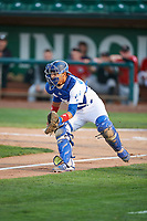 Ramon Rodriguez (3) of the Ogden Raptors on defense against the Great Falls Voyagers at Lindquist Field on August 22, 2018 in Ogden, Utah. Great Falls defeated Ogden 3-1. (Stephen Smith/Four Seam Images)