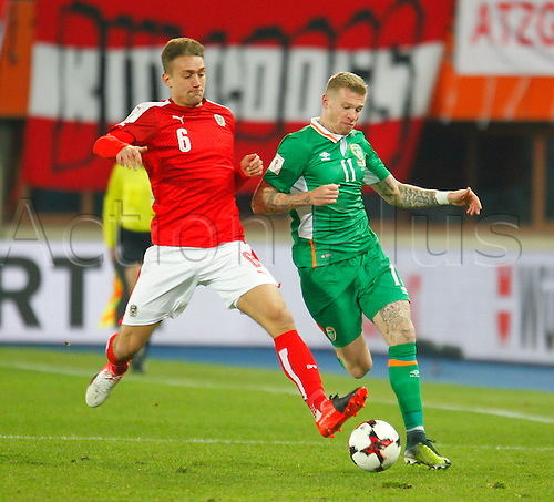 12.11.2016. Ernst Happel Stadion, Vienna, Austria. World Cup Qualifying Football. Austria versus Republic of Ireland. Stefan Ilsanker (Austria) and James McClean (Rep. of Ireland) challenge for the ball.