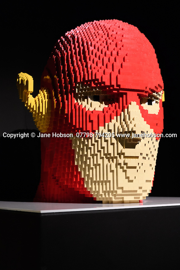 THE ART OF THE BRICK: DC SUPER HEROES - Artist Nathan Sawaya returns to London with the world's largest LEGO exhibition, inspired by Batman, Superman, and Wonder Woman. The exhibition opens, in a purpose-built marquee in Doon Street car park, Upper Ground, on the South Bank. Picture shows: The Flash Bust.